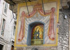 Matka Boska Autostopowiczow. W bazylice w Asyzu jest fresk przedstawiajacy Matke Boska z dzieciatkie